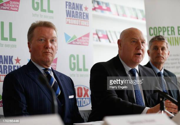 Frank Warren Phil Lane and Peter Bundey speak during a press conference with boxing promoter Frank Warren at the London Legacy Development...