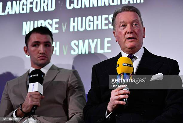 Frank Warren speaks during a Frank Warren Press Conference at the BT Tower on January 23 2017 in London England