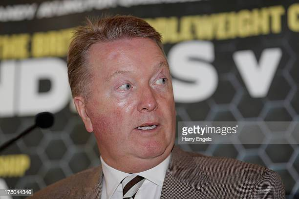 Frank Warren speaks during a press conference organized by the boxing promoter himself at The Copper Box on July 30 2013 in London England