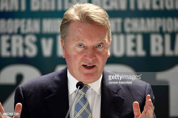 Frank Warren speaks during a press conference with boxing promoter Frank Warren at Frederick's Restaurant on May 15 2014 in London England Leading...