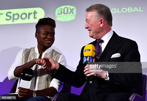 Frank Warren speaks with Nicola Adams during a Frank Warren Press Conference at the BT Tower on January 23 2017 in London England