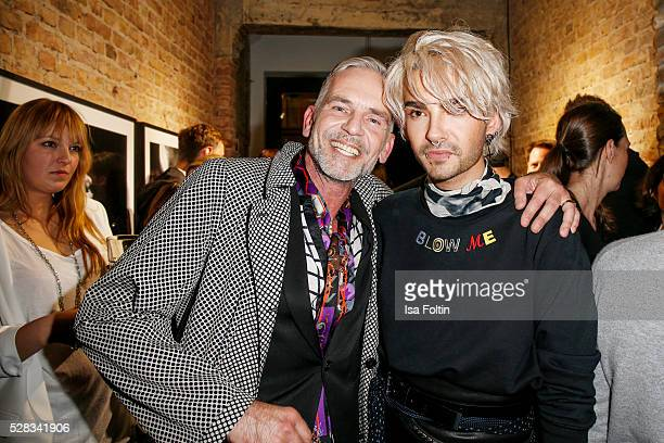 Frank Wilde and Bill Kaulitz singer of the band Tokio Hotel during the photo art exhibition and book launch of BILLY at Seven Star Gallery on May 4...