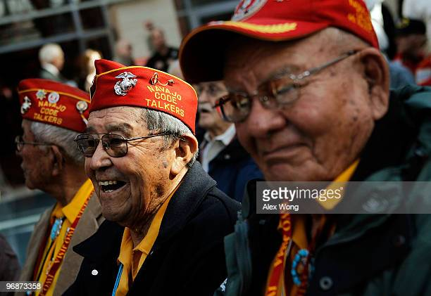 Frank Willetto of Crownpoint New Mexico and Keith Little of Navajo New Mexico both were members of the Navajo Code Talkers during World War II attend...