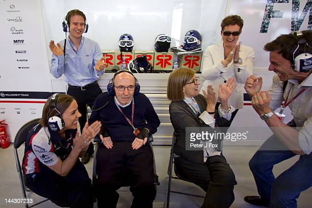 Frank Williams Of Great Britain and Williams celebrates winning with his daughter Claire Williams and his wife Ginny Williams during the Spanish...
