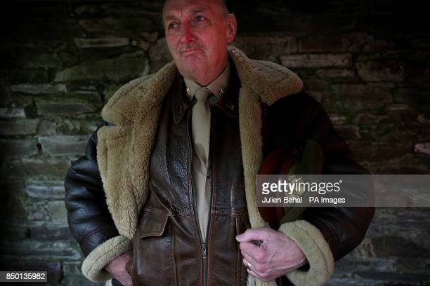 Frank Williamson a military reenactor dressed as an America Air Force Pilot from World War Two at O'Donovan's Hotel in Clonakilty where a statue to...