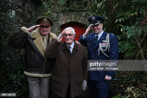 Frank Williamson a military reenactor dressed as an America Air Force Pilot from World War Two 93yearold former Irish Army Engineer Private James...