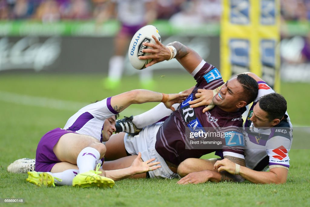 Frank Winterstein of Manly scores a try during the round seven NRL match between the Manly Sea Eagles and the Melbourne Storm at Lottoland on April 15, 2017 in Sydney, Australia.