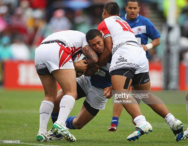 Frank Winterstein of Samoa is tackled during the international friendly match between Tonga and Samoa at Parramatta Stadium on October 24 2010 in...
