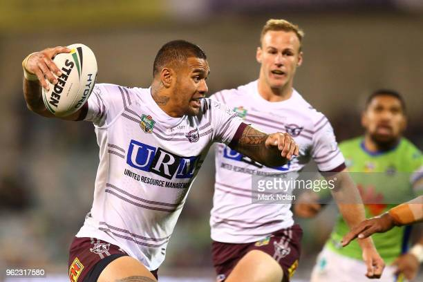 Frank Winterstein of the Eagles runs the ball during the round 12 NRL match between the Canberra Raiders and the Manly Sea Eagles at GIO Stadium on...