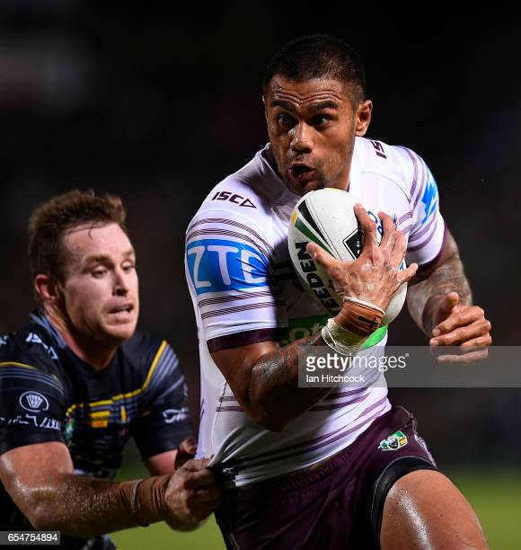 Frank Winterstein of the Sea Eagles is tackled by Michael Morgan of the Cowboys during the round three NRL match between the North Queensland Cowboys...