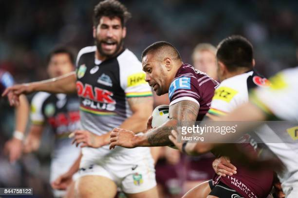 Frank Winterstein of the Sea Eagles is tackled during the NRL Elimination Final match between the Manly Sea Eagles and the Penrith Panthers at...