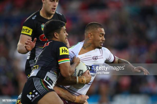 Frank Winterstein of the Sea Eagles is tackled during the round 16 NRL match between the Penrith Panthers and the Manly Sea Eagles at Panthers...