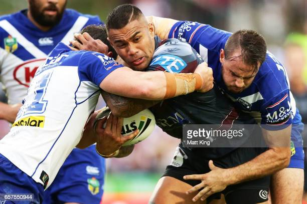 Frank Winterstein of the Sea Eagles is tackled during the round four NRL match between the Manly Warringah Sea Eagles and the Canterbury Bulldogs at...