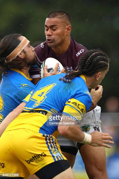 Frank Winterstein of the Sea Eagles is tackled during the round one NRL match between the Manly Sea Eagles and the Parramatta Eels at Lottoland on...