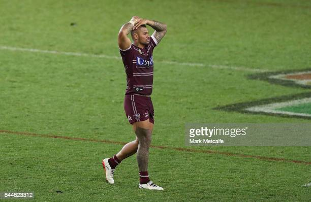 Frank Winterstein of the Sea Eagles looks dejected after defeat during the NRL Elimination Final match between the Manly Sea Eagles and the Penrith...