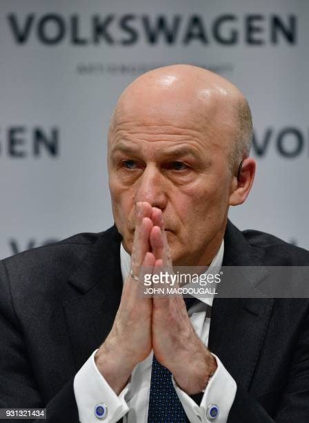 Frank Witter CFO of German car maker Volkswagen attends his company's annual press conference in Berlin on March 13 2018 Volkswagen holds its annual...