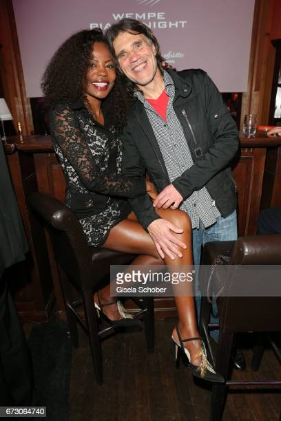 Frank Woerndl and his girlfriend Pauline Sonnleitner during the piano night hosted by Wempe and Glashuette Original at Gruenwalder Einkehr on April...