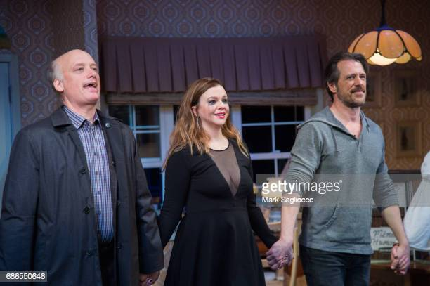 Frank Wood Amber Tamblyn and Darren Pettie attend the 'Can You Forgive Her' Opening Night at the Vineyard Theatre on May 21 2017 in New York City