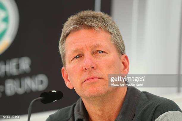 Frank Wormuth coach of U20 team Germany talks to the media during a press conference on day 3 of the German national team trainings camp on May 26...
