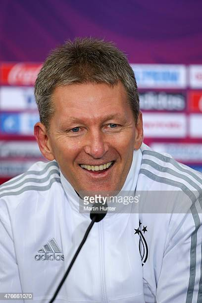 Frank Wormuth Germany head coach speaks during a press conference after the FIFA U20 World Cup New Zealand 2015 Round of 16 match between Germany and...