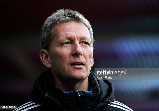 Frank Wormuth Head Coach of Germany patrols the sideline before the U20 MercedesBenz Elite Cup match between Germany and England at VoithArena on...