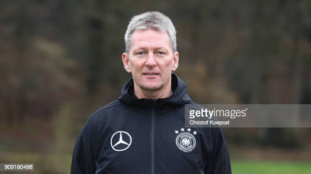 Frank Wormuth poses during a portrait session of the DFB Pro Licence Coaching Course at Sportschule Hennef on January 23 2018 in Hennef Germany