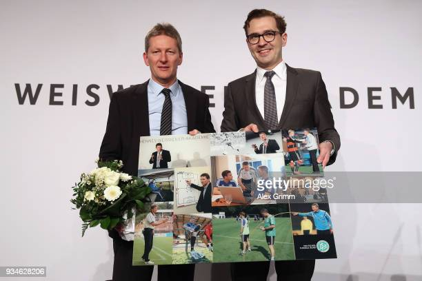 Frank Wormuth poses with DFB Secretary General Friedrich Curtius during the Coaching Award Ceremony Closing Event UEFA Pro Coaching Course 2017/2018...