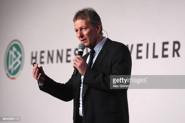 Frank Wormuth speaks during the Coaching Award Ceremony Closing Event UEFA Pro Coaching Course 2017/2018 at Kempinski Hotel Frankfurt on March 19...