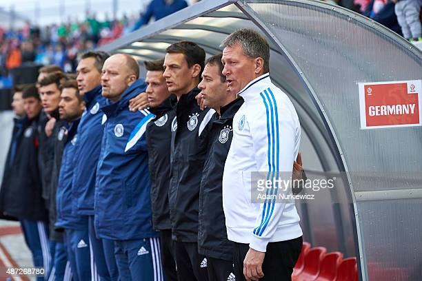 Frank Wormuth trainer coach of Germany U20 while national anthem during the International Friendly soccer match between Poland U20 and Germany U20 at...