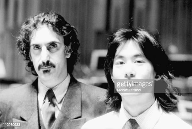 Frank Zappa and Kent Nagano portrait Barbican London 1982