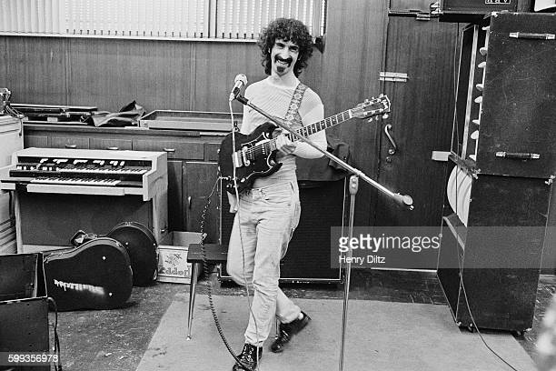 Frank Zappa composer and guitarist for the band Mothers of Invention in a recording studio