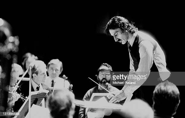 Frank Zappa conducts and orchestra performing his own compositions at the Barbican London 11th January 1983