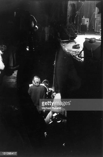 Frank Zappa is pushed from the stage by a jealous boyfriend of a female fan during an encore at The Rainbow Theatre London 10th December 1971 Zappa's...