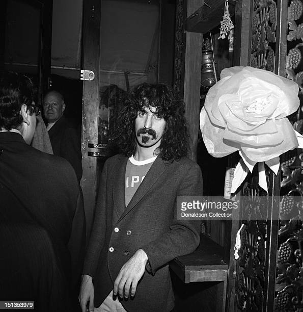 Frank Zappa of the rock group Frank Zappa And The Mothers Of Inventionposes for a portrait at the Garrick Theatre upstairs from the Cafe Au Go Go on...