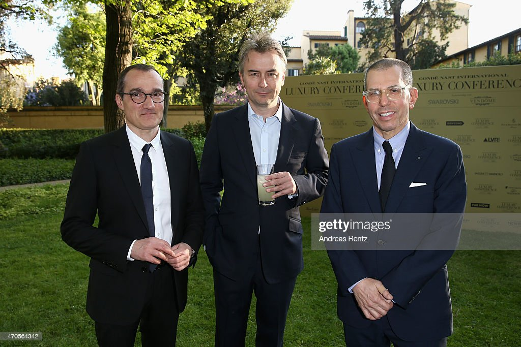 Frank Zayan, President of Ecommerce of Conde Nast International, Albert Read, Deputy Managing Director Conde' Naste UK and Jonathan Newhouse, Chairman & Chief Executive, Conde Nast International attend the Conde' Nast International Luxury Conference Welcome Reception at Four Seasons Hotel Firenze on April 21, 2015 in Florence, Italy.