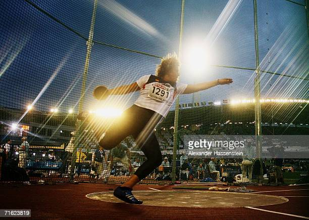 Franka Dietzsch of Germany competes during the Women's Discus throw Final on day four of the 19th European Athletics Championships at the Ullevi...