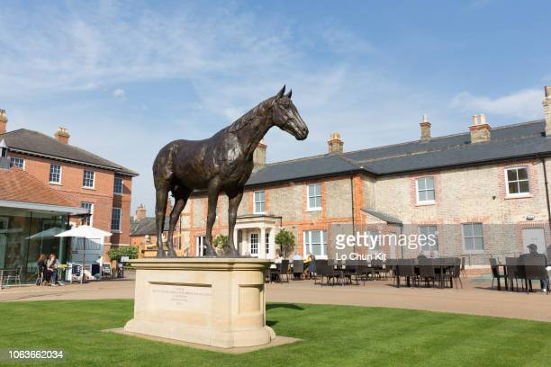 Frankel statue at Newmarket on October 5 2018 in Newmarket England