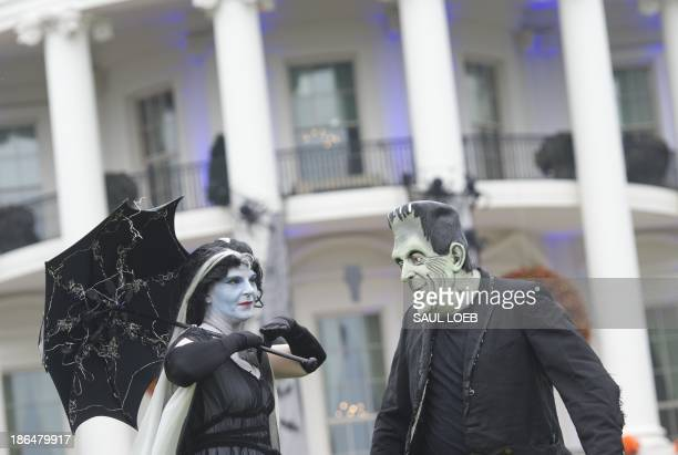 Frankenstein and Mrs Frankenstein stand on the South Lawn prior to US President Barack Obama and First Lady Michelle Obama welcoming local children...