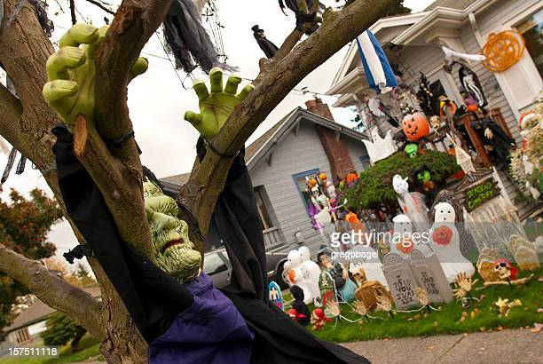 frankenstein and other halloween decorations - halloween decoration stock pictures, royalty-free photos & images
