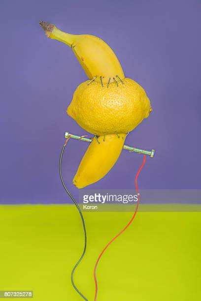 frankenstein banana lemon - frankenstein stock photos and pictures