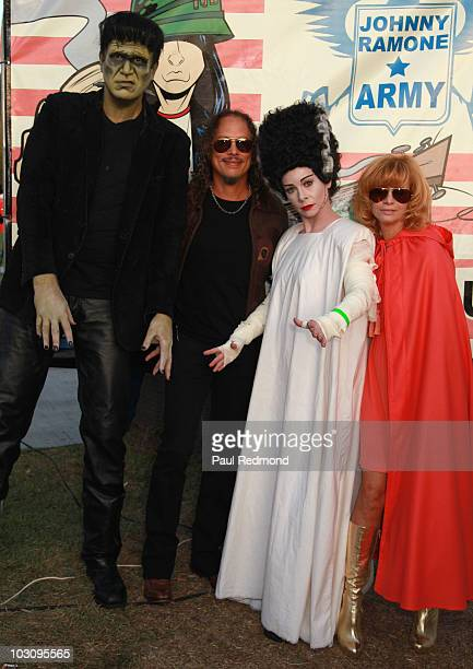 Frankenstein character musician Kirk Hammett Bride of Frankenstein character and Linda Ramone attend the The 6th Annual Johnny Ramone Tribute at...