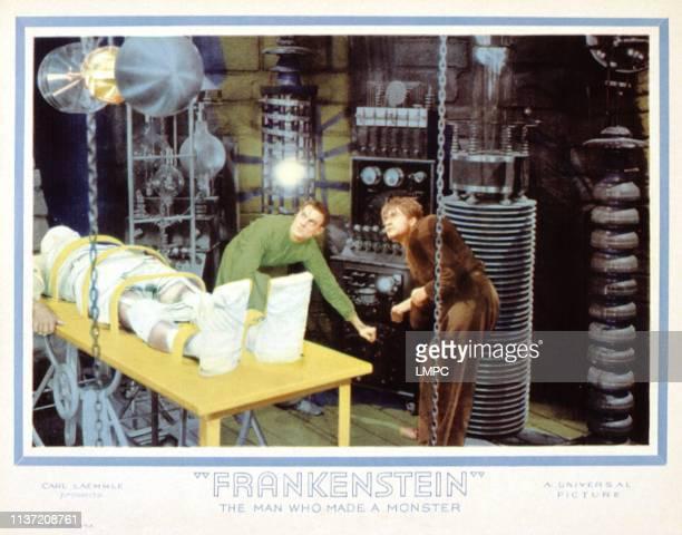 Frankenstein, lobbycard, Boris Karloff, Colin Clive, Dwight Frye, 1931.