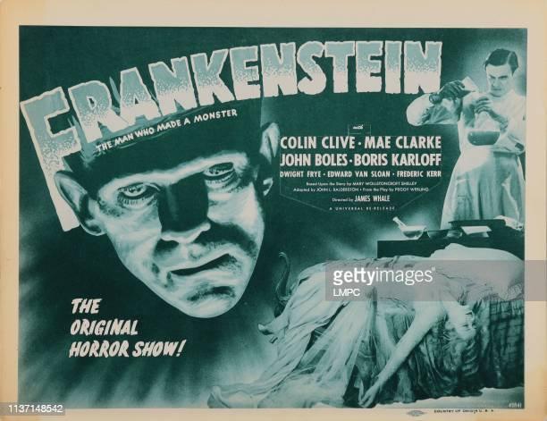 Frankenstein, lobbycard, left: Boris Karloff, right from top: Colin Clive, Mae Clarke on 1947.