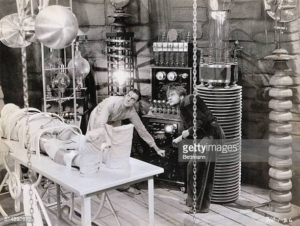 Frankenstein starring Boris Karloff as The Monster Scene in the laboratory