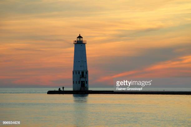 Frankfort Lighthouse (1912) at sunset