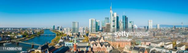 frankfurt aerial panorama river main romer altstadt skyscraper cityscape germany - frankfurt main stock pictures, royalty-free photos & images