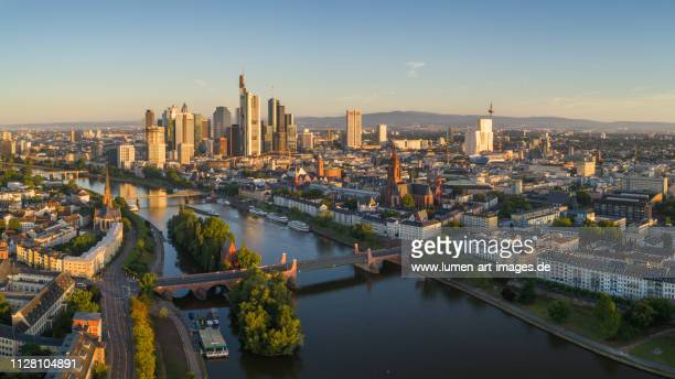 frankfurt aerial view sunrise - frankfurt am main stock-fotos und bilder
