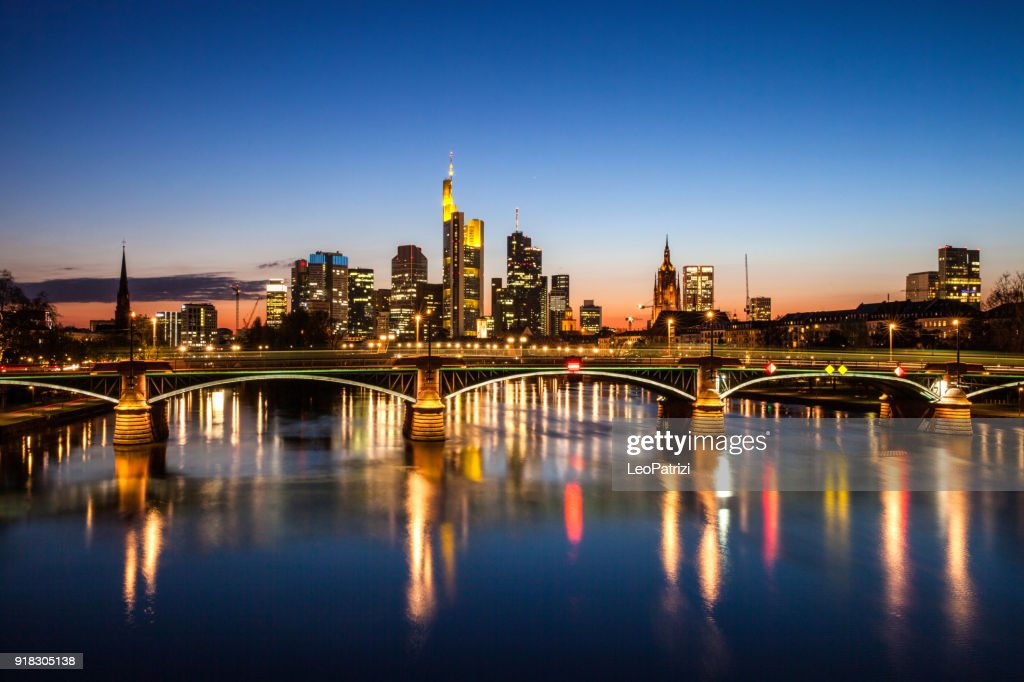 Frankfurt Am Main downtown financial district skyline skyscrapers at night : Stock Photo