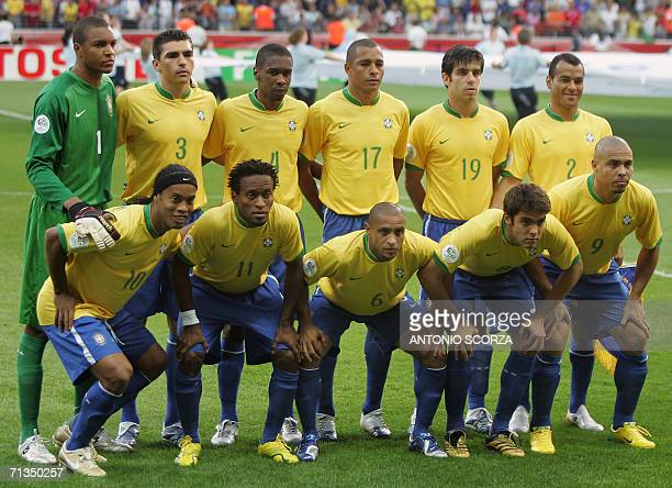 Members of the Brazil team pose at the start of the quarterfinal World Cup football match between Brazil and France at Frankfurt's World Cup Stadium...