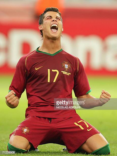 Portuguese forward Cristiano Ronaldo celebrates after scoring a goal during the World Cup 2006 group D football game Portugual vsIran 17 June 2006 at...